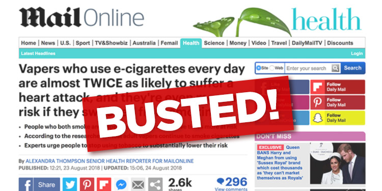 Daily Mail coverage of the alleged link between vaping and heart attacks.