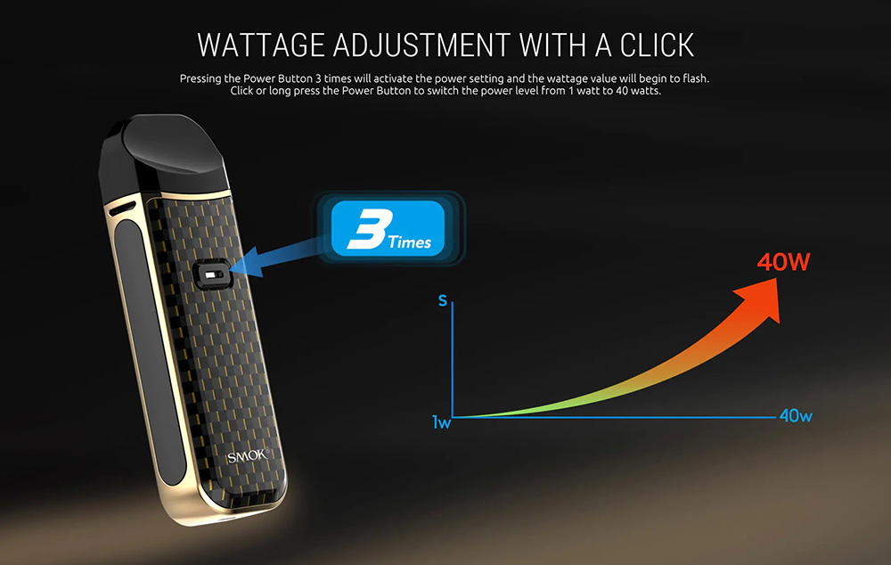 Image and graph showing wattage adjustment with the Nord 2.