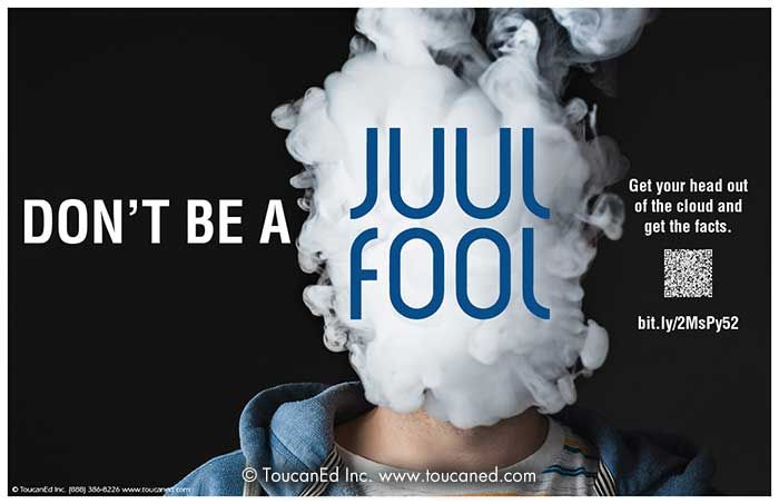 JUUL vape advert with a cloud of vapour obscuring a face.