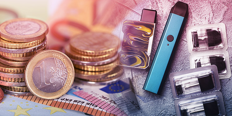 EU Vape Excise Tax: Money and vapes pictured together.