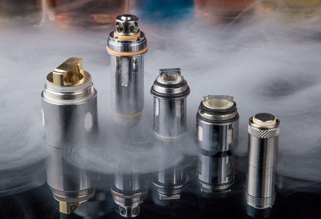 Coils surrounded by vapour.
