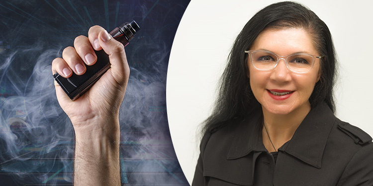 Dr Marewa Glover is pictured next to a hand holding a vape.