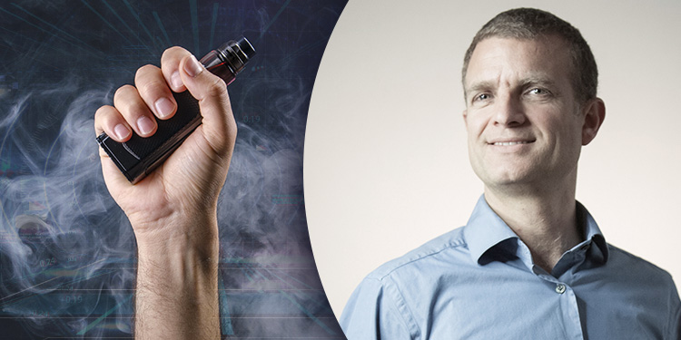 Headshot of Tim Phillips, CEO of E-Cig Intelligence, next to a hand holding a vape.