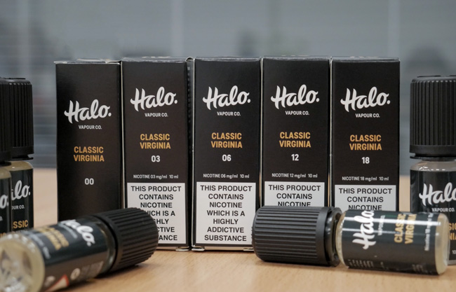 Halo bottles with different nicotine strengths.