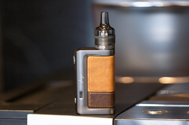 Eleaf iStick Power 2 with stitched leather effect.