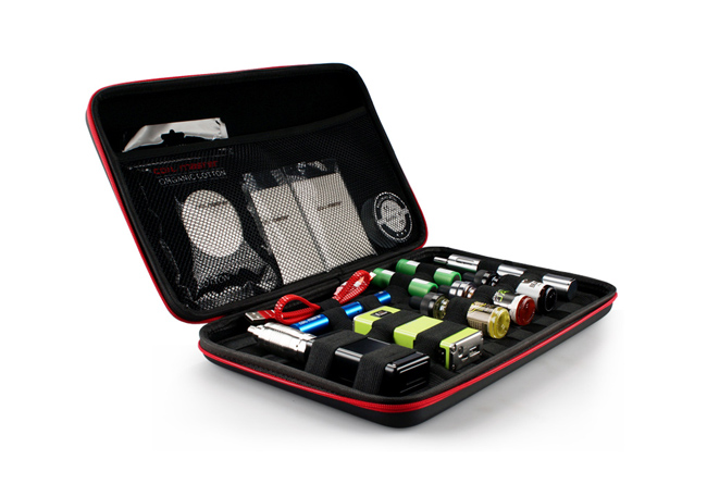 Vape case filled with e-liquid, batteries and devices.