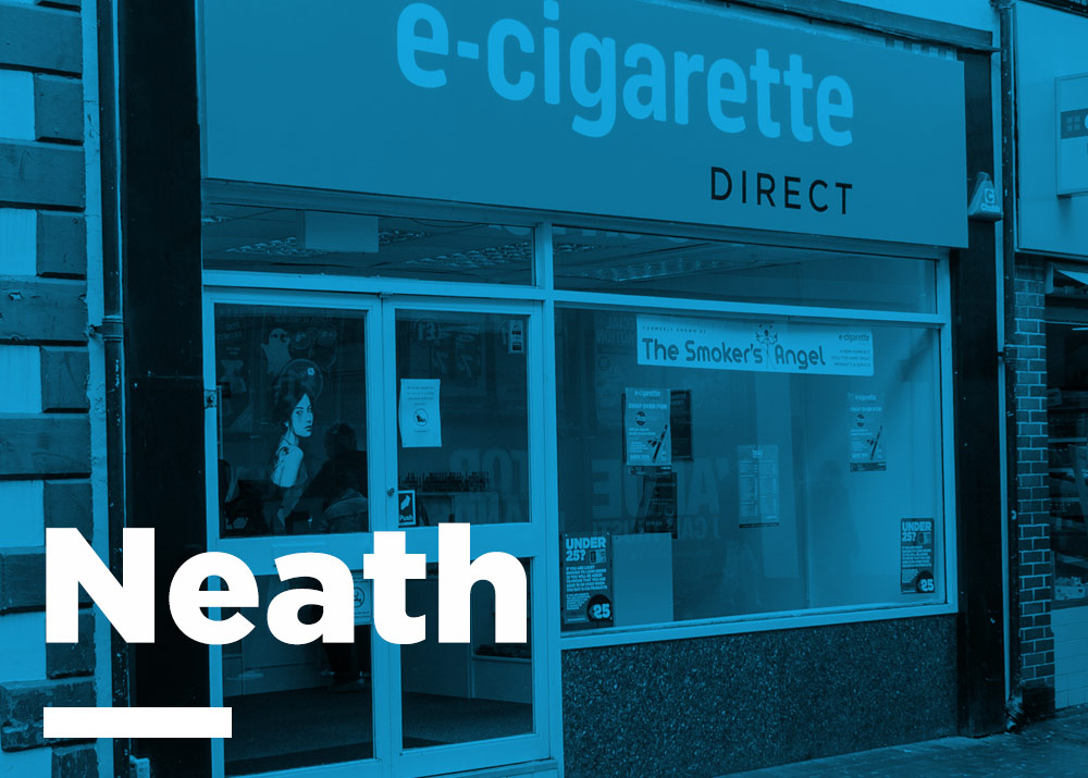 Neath E-Cig store, shote from the outside.