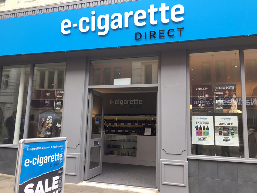 An exterior of the revamped ECigaretteDirect store.