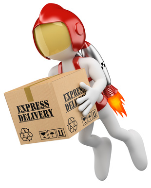 Man carrying express delivery package.